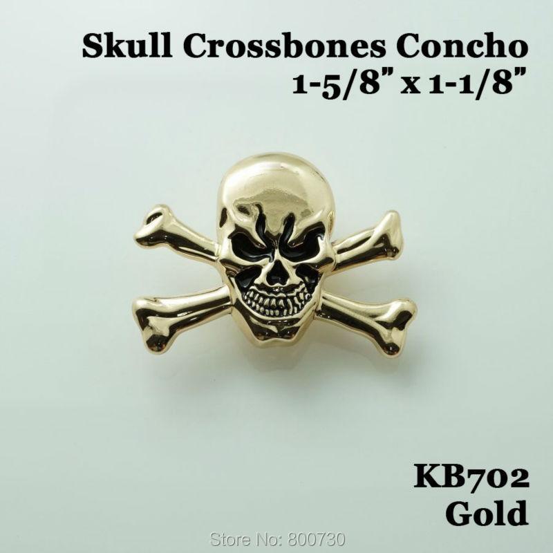 (KB702) 10ks 1-5 / 8 '' Western Concho Cowboy Decor Skull Crossbones Concho Craft Hardware Gold