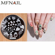 1 PCS Cute Cartoon Design 5.5*5.5cm Round Stamping Plate DIY Nail Art Stamp Image Stencil Tools For Fingernail Print