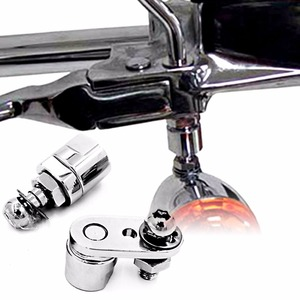 Chrome Turn Signal Relocation Brackets For Harley Dyna Fatboy Beakout Sportster(China)