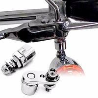 Chrome Turn Signal Relocation Brackets For Harley Dyna Fatboy Beakout Sportster