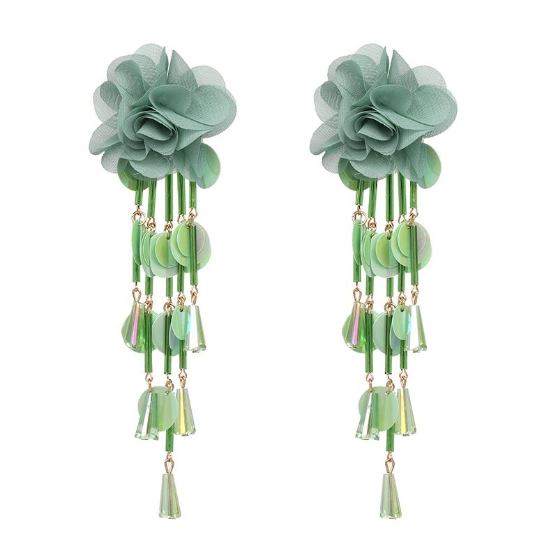 JUJIA Bohemian Long Flower Earrings Pom Pom Big Statement Earrings Fringe Drop Earrings Women Jewelry 22