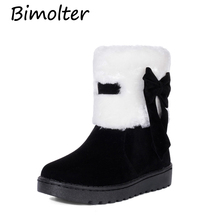 Bimolter Women Flock Winter Fur Warm Snow Boots Fashion Female Butterfly-knot Sweet Students Flat Ankle Size31-39 PAEA017