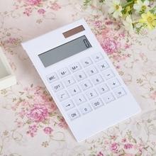 цены Creative Slim Portable mini 12 digital Calculator Solar Energy Crystal Keyboard Dual Power Supply Reken Machine