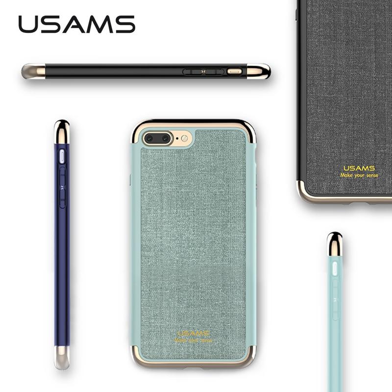 imágenes para Para el iphone 7 y iphone 7 Más Caso de la Cubierta USAMS Serie elegante Chapado PC + PU de Tres empalme antidetonantes Caso Trasero para iphone7 cubierta