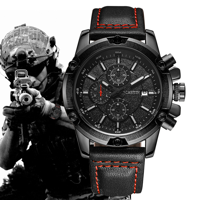 OCHSTIN Military Watch Men Top Brand Luxury Famous Sport Watch Male Clock Quartz Wrist Watch Relogio Masculino 2017 Black