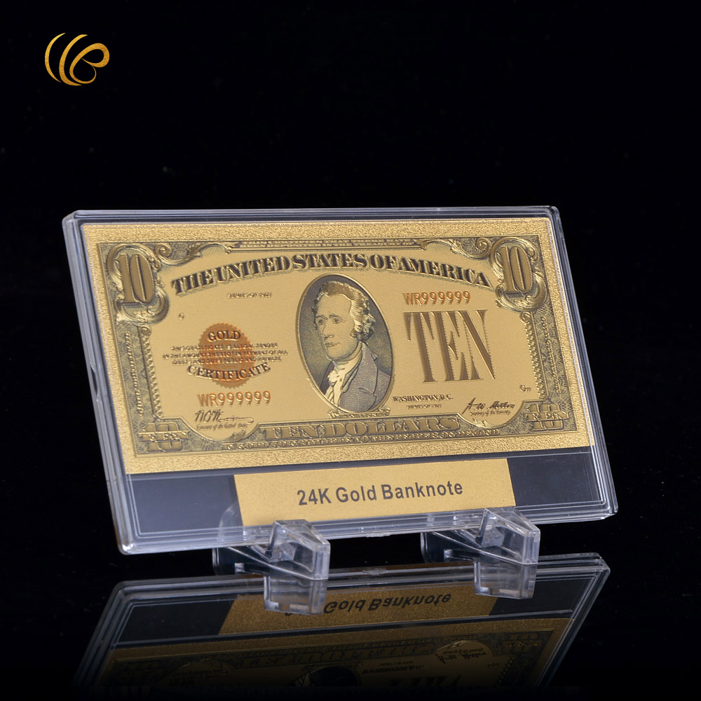 Hot Sale Ten Dollar Gold Banknote American Colorful Fake Money with ...