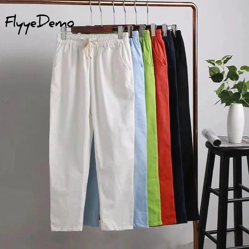 XL - 4XL Plus Size 2019 Fashion Summer Skinny Women Candy Colors Loose Pencil Pants Cotton Linen Pocket Elastic Waist Trousers