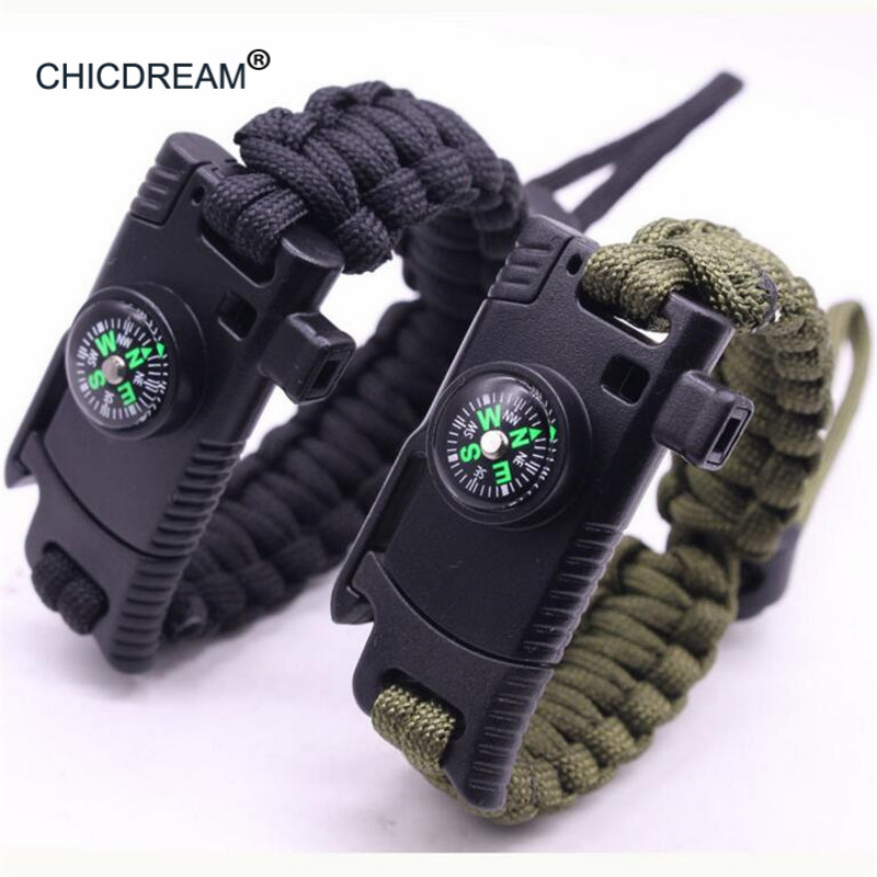 New Braided Outdoor Camouflage Men Bracelet Multi-function Compass Rescue Rope Paracord Survival Adjustable Chain Bracelets