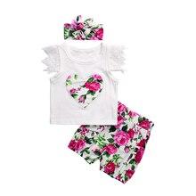 3 STÜCKE 0-24 Mt Baby, Kleinkind Kleidung Set Spitze Kurzarm Liebe Muster Top + Kopf Tragen + Blume Hosen Mädchen Baumwolle Kleidung Set