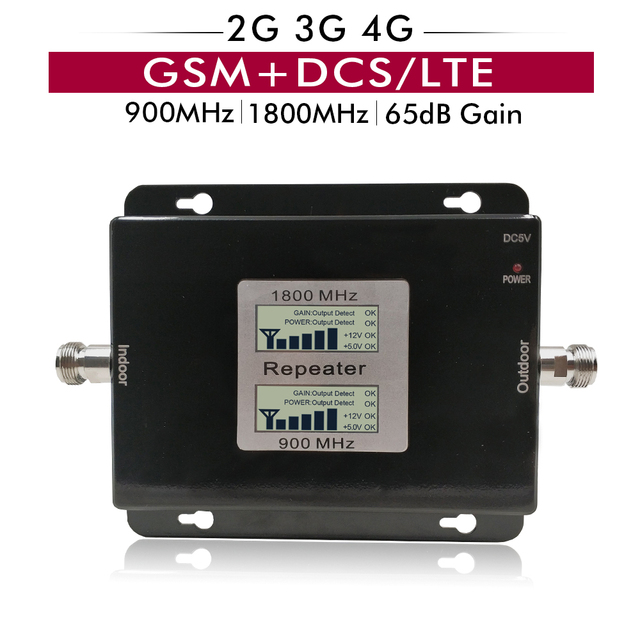 65dB Gain 17dBm LCD Display Dual Band Booster 2G GSM 900 4G DCS/LTE 1800 Cellular Mobile Signal Repeater Amplifier Up to 500sqm