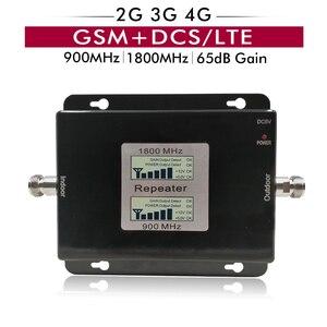Image 1 - 65dB Gain 17dBm LCD affichage double bande Booster 2G GSM 900 4G DCS/LTE 1800 cellulaire Mobile répéteur de Signal amplificateur jusquà 500sqm