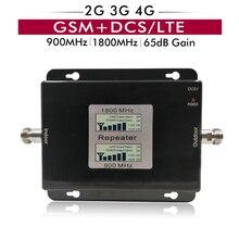 Amplificador de banda Dual con pantalla LCD de 65dB Gain 17dBm 2G GSM 900 4G DCS/LTE 1800 repetidor y amplificador de señal móvil de hasta 500sqm