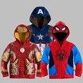 Retail 2017 Niños Spiderman Thor Niños Abrigos Ropa Casual Abrigos Chaqueta Niño Bebé Abrigo Sudaderas Sudaderas hombre de Hierro