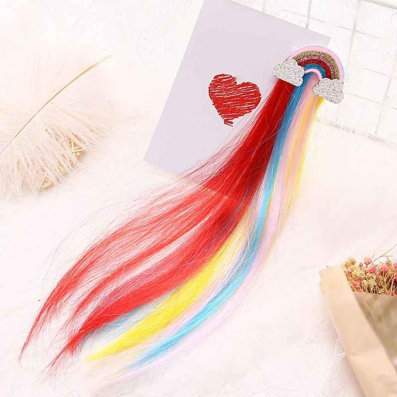 Новый Радужный облачный боковой зажим Милая принцесса детская Шпилька с длинной кисточкой Цвет Детский парик для девочек заколки для волос