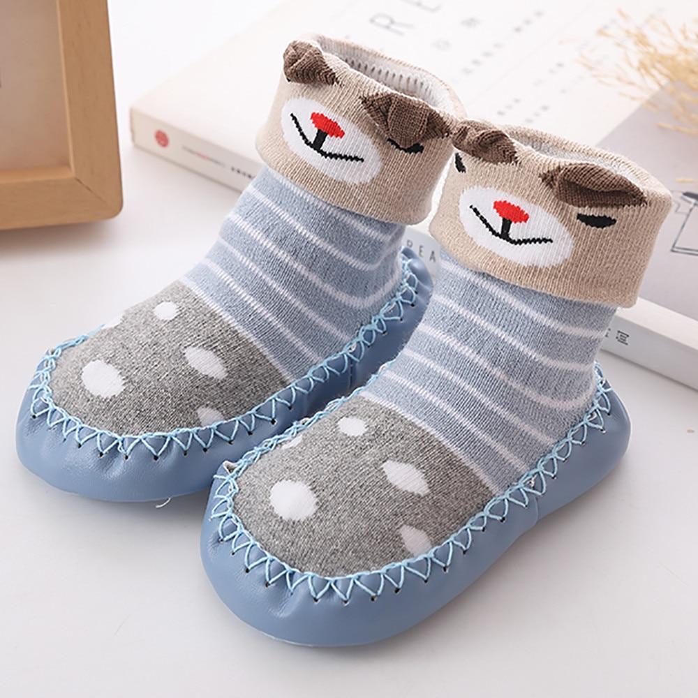 Весна-Осень-зима, носки для малышей с героями мультфильмов детские хлопковые нескользящие носки-тапочки с кожаной подошвой детские носки для новорожденных - Цвет: Blue