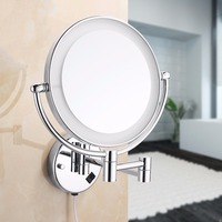 Bath Mirrors Chrome Magnifying Bathroom Wall 9 Inch Brass Round LED Makeup Lighting Mirror Illuminator Make up Mural 2068