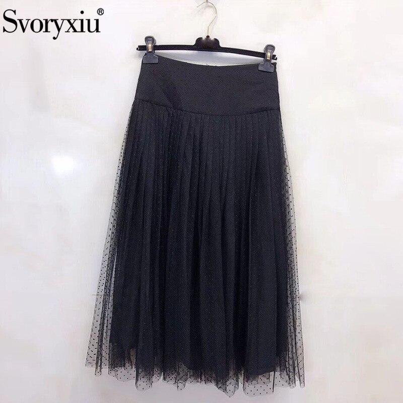 Svoryxiu diseñador de pasarela negro Polka Dot falda de malla de seda de alta gama para mujer Falda larga-in Faldas from Ropa de mujer    1