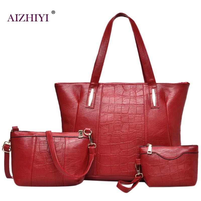 3pcs Women Leather Handbags Women Shoulder Bag Casual Tote Women Messenger Bag Set Bolsas Feminina Laides Composite Bags 2018 women 3pcs set handbags pu leather shoulder bags tassel handle designer composite messenger bag casual tote bag ll408