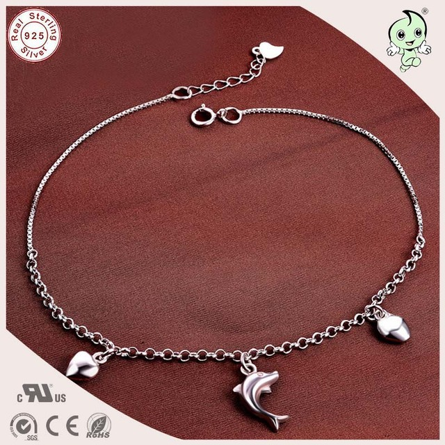 Hot Sale Good Quality  Popular 925 Authentic Silver Fish And Heart Pendant Charm Foot Anklet Chain For Girls