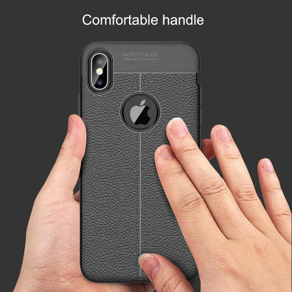 buy online 06323 a47b3 Auto Focus Case For iPhone X Case Business Leather Silicone Soft TPU Cases  For iPhone XR XS MAX 7 8 Plus Luxury Case Back Covers