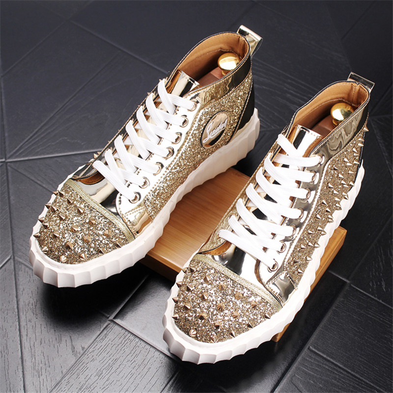 Ayakk.'ten Basic Çizmeler'de Buty Meskie çivili erkek ayakkabı yüksek üst Sneakers Botas Rojas Hombre moda erkekler perçin çizmeler 4 #15/15e50'da  Grup 1