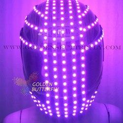 Casco LED Sense future, casco monocromático/Cascos de carreras a todo color, fuente de punto RGB, casco luminoso de Robot DJ de fiesta brillante