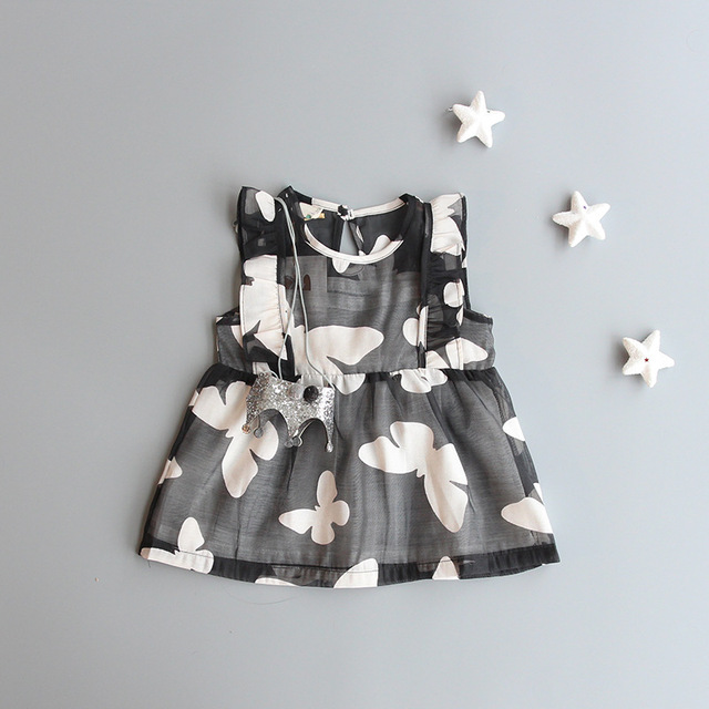 2016 Summer Babies Girls dress Print Butterfly Princess baby Dress Cotton Elegant Party toddler girl tutu dress newborn clothes