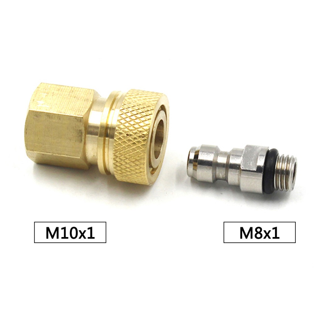 PCP Airforce Paintball Stainless Steel 8MM M8x1 Male Plug Coupler Connector M10x1 Female Quick Disconnect Air Refill Fitting Set