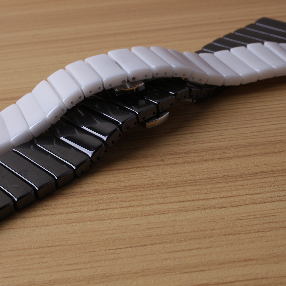 Ceramic watch strap bracelet watchband 20mm 22mm 24mm wristwatches band white black Butterfly buckle watch accessories not fade for samsung gear s2 classic black white ceramic bracelet quality watchband 20mm butterfly clasp