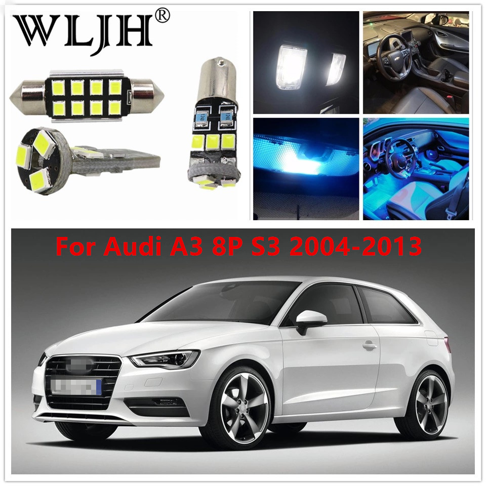 WLJH 12x Canbus Error Free Internal LED Dome Map Vanity Mirrors Glove Box LED Interior Light Package For Audi A3 8P S3 2004-2013 xenon white 1 50 36mm 6418 c5w canbus led bulbs error free for audi bmw mercedes porsche vw interior map or dome lights