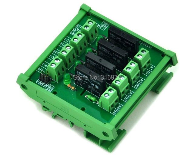 DIN Rail Mount 4 Channel SSRSolid State Relay Interface Module