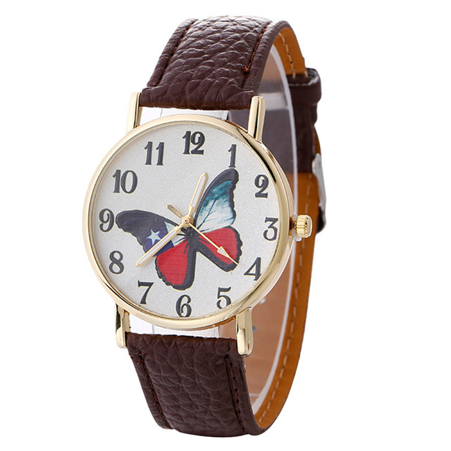 Fashion Women Bracelet Watch Brand Neutral Butterfly Pattern Leather Quartz Wrist Watch Clock Women relojes mujer DropShipping