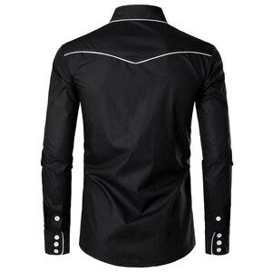 Image 2 - Рубашка мужская с вышивкой, черная, на пуговицах, с длинным рукавом