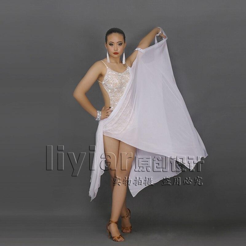 Nové latinskoamerické tance bílé krajkové barevné elegantní kamínky pro ženy