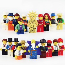 20 sztuk/partia Enlighten Minifigure klocki figurki cegły DIY zabawki policja żołnierz zawody Mini ludzie dla dzieci prezent