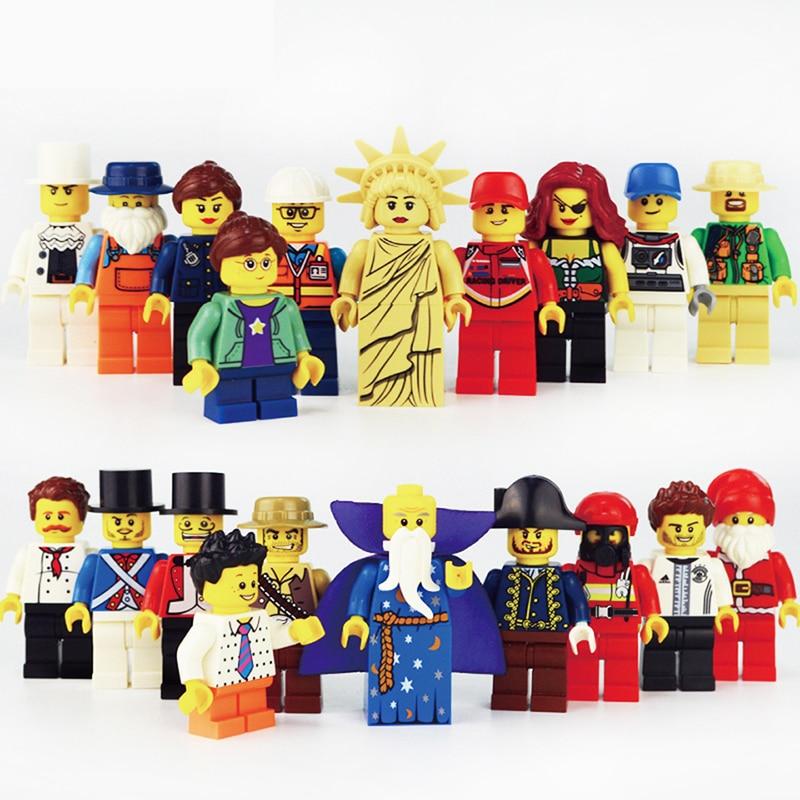 20pcs/lot LegoINGlys Minifigure Building Blocks Figures Bricks DIY Toys Police Soldier Occupations Mini People for Kids Gift