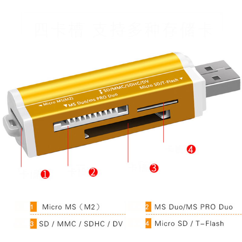 4 In 1 USB Card Reader Flash Drive High-speed USB2.0 Universal OTG TF/SD Card for Computer Extension Headers Card Readers