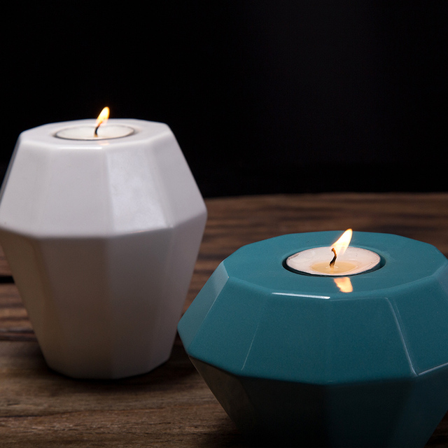 Amazing Fancy Prismatic Shape Small Tealight Holder Modern Ceramic Candle Holders  For Home Decor Christmas Gift Creative