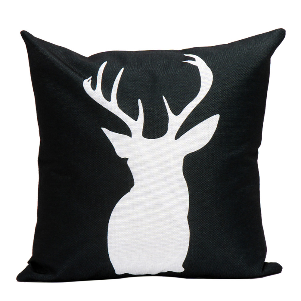 45*45cm Cotton Linen Elk Throw Pillow Case Sofa Home Decor Throw Pillow  Cover Cushion