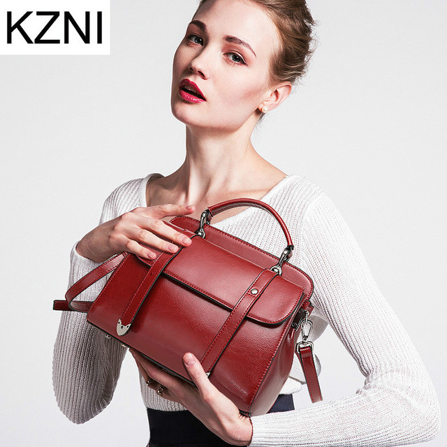 KZNI genuine leather handbags women ladies hand bags designer handbags imessenger bag famous brand bolsos mujer L112012