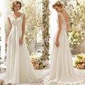 Lace em Chiffon com destacável voltar Cowl vestidos de noiva para mulheres grávidas preço barato