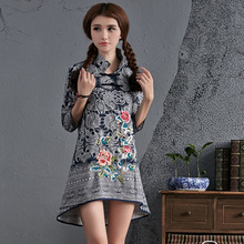 National Wind New Fashion Elegant Vintage Embroidery Handmade Plate Buttons Linen Blouses Shirts Casual Tops