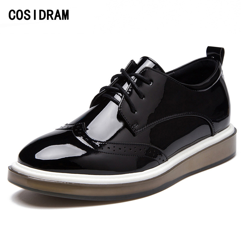 COSIDRAM Patent Leather Women Oxfords Fashion Brogue Women Shoes Lace Up Rubber Sole Women Flats Ladies Shoes 2017 Spring Autumn xiuningyan women leather brogue shoes spring autumn brand pointed toe women s flats fashion ladies elegant loafers soft oxfords