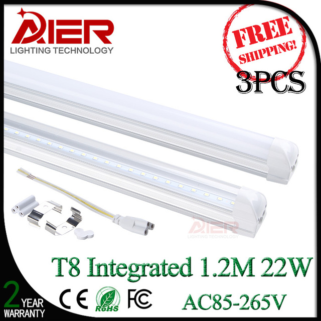 3pcs/lot 2 years warranty 22w t8 led tube 1.2M AC85-265V cold white natural white warm white