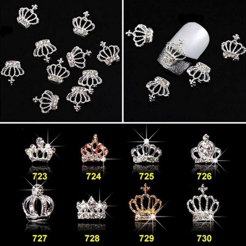 10 шт./Лот 16 видов конструкций 3D в форме короны, сплав, золото, серебро, дизайн ногтей, подвески, стразы для маникюра, 3D украшение для ногтей, ...