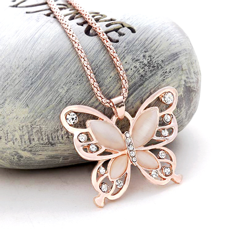 Fashion Rose Gold Acrylic Crystal 4CM Big Butterfly Pendant Necklace 70CM Long Chain Sweater Jewelry Women Party Gift New Arrive