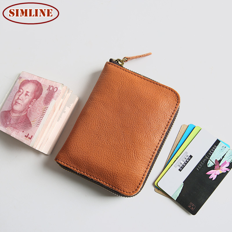 Vintage Genuine Leather Cowhide Men Mens Women Short Small Zipper Wallet Wallets Coin Purse Card Holder For Man