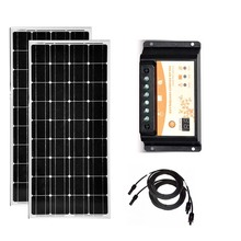 Waterproof Solar Panel 12v 100w Monocrystalline 2Pcs Kit 200w Charge Controller 12v/24v 30A PWM Caravan Car Camping