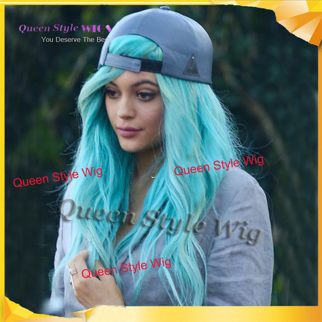 Fashion Celebrity Kylie Jenner Baby Blue Hair Style Lace Front Wig