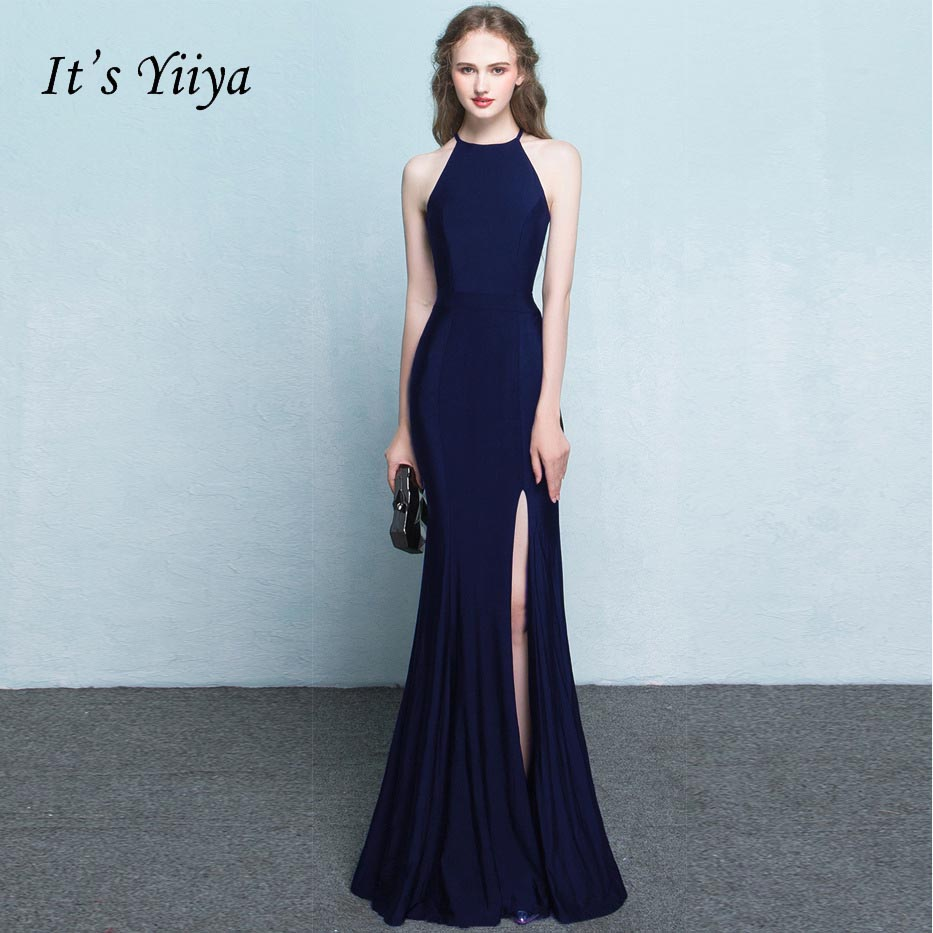 It's YiiYa new 2017 Halter Neck Sleeveless Mermaid Simple Black Formal Dresses Floor Length Trumpet Evening Dress L149